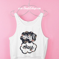 Floral Okay Okay? Crop Tank Top