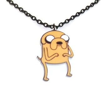 Adventure Time Necklace, Jake the Dog, Cute Perspex Pendant, Laser Cut Jewelry