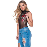 Perspective Sexy Bodysuit Women Sexy Sleeveless Floral Embroidered Sheer Jumpsuit Hollow Out Back Mesh Bodysuit