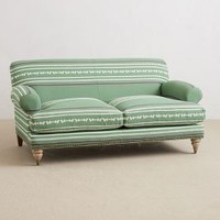 Yarn-Dyed Willoughby Settee by Anthropologie Guacamole One Size Furniture