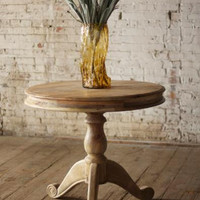 Small Bleached Wood Round Dining Table