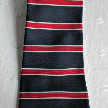 Red White Blue Patriotic Striped Mens Tie Necktie Stafford Classic Style