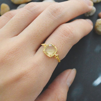 SALE10%) E-011 Lemon Square Glass ring, Gold Frame ring, Chain ring, Simple ring, Modern ring, Gold plated ring/Everyday/Gift/