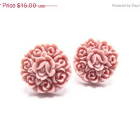 ON SALE Lavender resin Floral Stud Earrings -Flower Earring Post- Great gift for the holiday