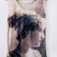 French woman portrait  Digitally printed blouse by Bliissful