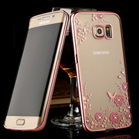 Exquisite Plating Clear Soft TPU Case For Samsung Galaxy S6 Edge Note 5 S7 Edge Silicone Case Diamond Flower Phone Cover