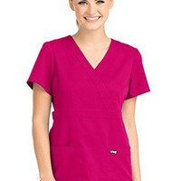 Three-Pocket Mock-Wrap Scrub Top