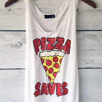 Pizza Saves Racerback Tank Top in White