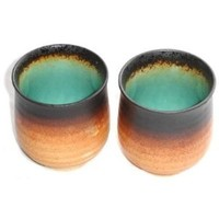 Set of Two Japanese Turquoise Green Kosui Teacups outside pattern varies