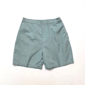 Vintage 1960s 'Delta Sportswear' high waisted ice blue cotton shorts with side pockets