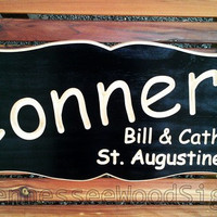 Personalized Family Last and First Names Sign Black- Carved Wood Sign. Great for Cabins - Camping - Last Name - Gift - RV - Wedding Gift