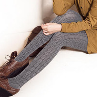 YESSTYLE: ZOO- Cable-Knit Tights (Light Gray - One Size) - Free International Shipping on orders over $150