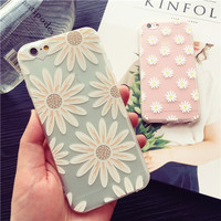 Exquisite fashion daisy transparent soft silicone mobile phone case for iphone 6 6s 6plus 6s plus 7 7plus+ Nice gift box!