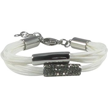 Stainless Steel Bracelet Wax Poly Cords White Black Diamond Crystals Adjustable Clasp Bracelet