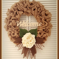Burlap Wreath Spring Wreath, Welcome Wreath  Cream Wreath Front Door Wreath Hydrangea Wreath Mother's Day Gift House Warming Gift Home Decor