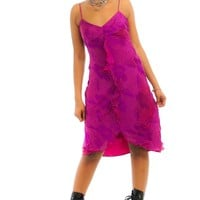 Vintage 90's Magenta Silk-Blend Dress - S/M