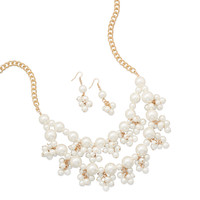 Gold Tone Pearl Cluster Bib Fashion Necklace and Earring Set