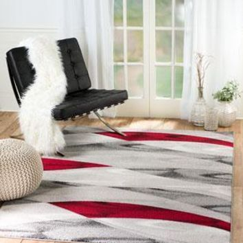2061 Gray Red Abstract Contemporary Area Rugs