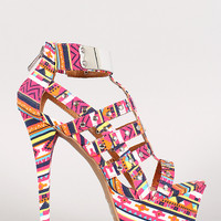 Dollhouse Tribal Studded Caged Stiletto Platform Heel