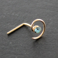 9KT Solid Yellow Gold Spiral Aquamarine Gemstone 22G L Bend L Shape Nose Stud Nose Ring Nostril Nose Piercing Jewelry