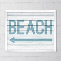 Beach Art Print, 8x10 Printable Digital file, Left Arrow, Wall art, Home decor, Typography, Ocean, Beach print, White Wood, Sign