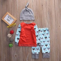 3pcs suit !! Newborn Baby Boys Clothes Long Sleeve T Shirt Tops Pants Hat cartoon fox Outfits