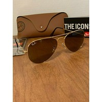 Ray-Ban RB3025 001/33 Gold Brown Classic Aviator Sunglasses 55mm