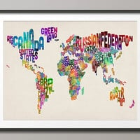Typographic Text Map of the World Map, Art Print 18x24 inch (889)