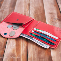 Credit card wallet mens leather wallet red genuine leather wallet minimal wallet slim wallet coin pocket wallet billfold wallet card holder