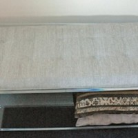 CLEAR ACRYLIC BENCH WITH FABRIC SEAT AND A BOTTOM SHELF | One Stop Plastic Shop
