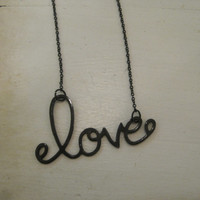 """Black """"Love"""" Necklace - Black """"Love"""" in Cursive Letters Necklace - Love - Word Jewelry - Valentines Day Jewelry"""