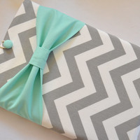 """Macbook Pro 15 Sleeve MAC Macbook 15"""" inch Laptop Computer Case Cover Grey & White Chevron with Mint Bow"""