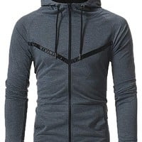 Zuckerfan Mens Hoodie Hipster Gym Sport Lightweight Oblique Zipper Hooded Sweatshirt with Pocket