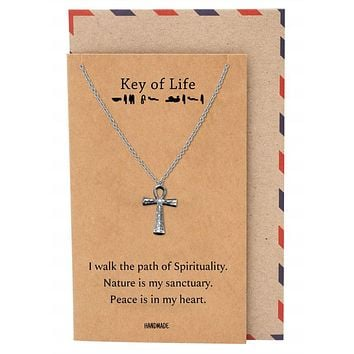 Laniya Ankh Cross Pendant Necklace, Gifts for Women with Inspirational Quote on Greeting Card