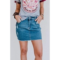 High Dive Denim Skirt - Dark Wash