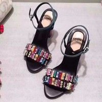 FENDI Women Fashion Diamonds Sandals High Heels Shoes
