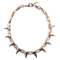 Metal-Luxe Single Row Spike Choker - Rose Gold/Silver Spikes