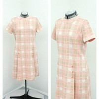 Vintage 60s Mod Pink Checked Pleated Scooter Dress, Shift Dress, Mock Turtleneck, Short Sleeve, Knee Length, Casual Dress, Summer Dress