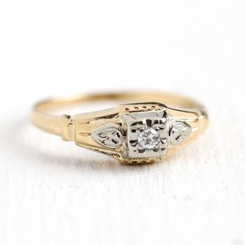 Vintage Engagement Ring - 14k Yellow & White Gold .03 ct Diamond - 1940s Size 5 3/4 Two Tone Wedding Fine 40s Flower Floral Jewelry