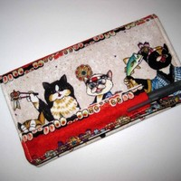 Fabric Checkbook Cover Bifold Wallet Pen Holder - SUSHI CATS Japanese | Nancym4 - Accessories on ArtFire
