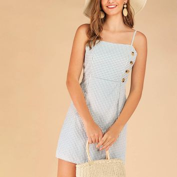 Side Button Gingham Cami Dress