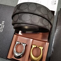 COACH Popular Woman Men Smooth Buckle Belt Leather Belt(Two Color Buckle)