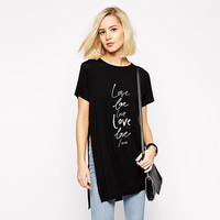 Black Love Love Love Long Shirt with Side Slit