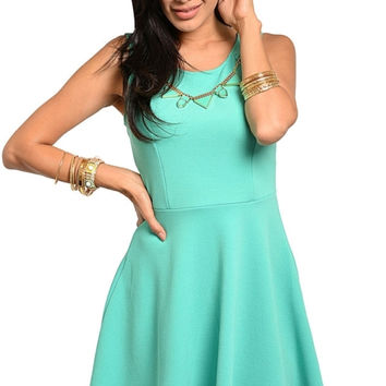 Sleeveless Skater Dress with Necklace