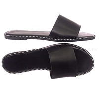 Snow11A Punk Rock Metal Stud Welt Slide - Women Hardware Slipper Flat Sandals