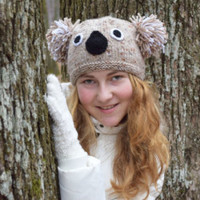 Koala hat-Teen girl beanie-Girls hat-Girlfriend gift-Knit wool hat-Koala beanie-spring fashion-Gift for teen girl animal hat Easter gift