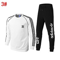 Adidas Trending Men Women Casual Print Top Sweater Pants Trousers Set Two-Piece Sportswear