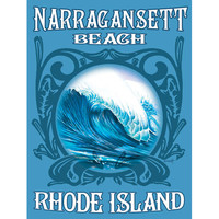 Personalized Rhode Island Waves Wood Sign
