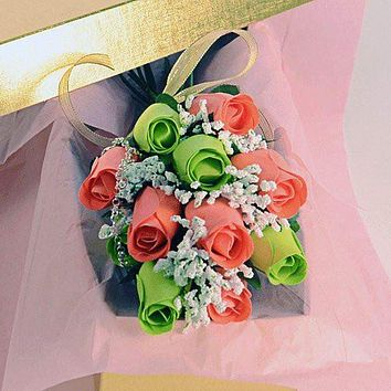 Coral & Green Bouquet Jewelry Roses Bouquet