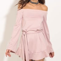 Simple Fashion Off Shoulder Long Sleeve Solid Color Frills Mini Dress